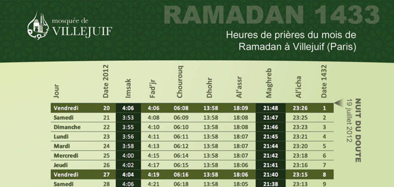 Calendrier Ramadan 2012