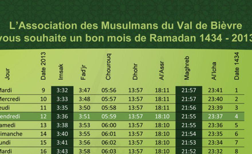 Calendrier ramadan 2013