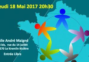 Quelle Fraternité pour la France de demain ? L' AIVB vous convie le Jeudi 18 mai 2017 à une soirée débat