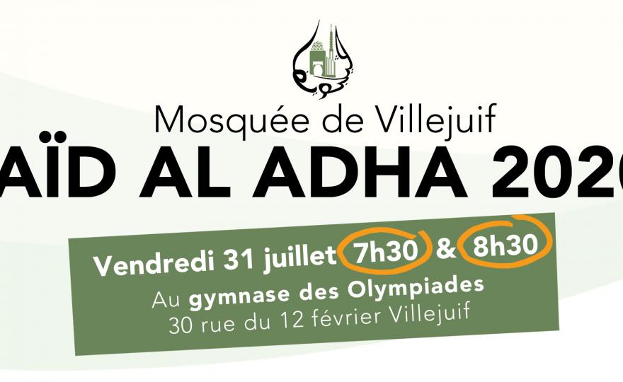 Vendredi 31 juillet à 7h30 et 8h30 prière de l'Aïd al Adha